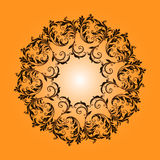 Beautiful circular pattern of floral. Ornament with leaves, mandala on the yellow background Vector Illustration