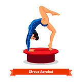 Beautiful circus acrobat performs gymnastic bridge. Beautiful circus acrobat flexible performs gymnastic bridge standing on arms and one leg. Flat vector Royalty Free Stock Image