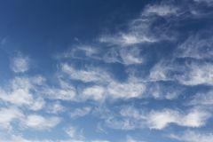 Beautiful cirrus clouds. Blue sky with beautiful clouds. Sky background royalty free stock photo