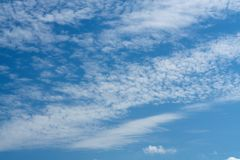 Beautiful cirrus clouds on bright blue sky.  royalty free stock images
