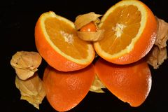 Beautiful citrus fruits close up on the mirror stock image