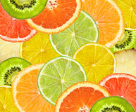 Beautiful citrus fruits of lemon, orange, grapefruit, lime backg Stock Photo