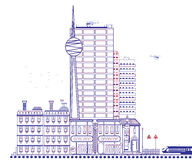 Beautiful city. Modern city with the TV tower and helicopters vector illustration