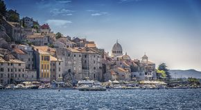 Beautiful city on adriatic coast. Old Adriatic city, a touch of history and calmness Royalty Free Stock Photo
