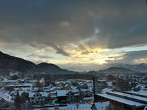 Beautiful City, Austria. Beautiful city from Austria. Snow, smooth light, nice sun, clouds Stock Photography