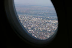 Beautiful city of Belgrade view with blue sky from plane window Stock Photography