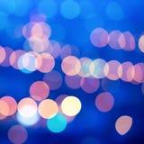 Beautiful city blurring lights abstract circular bokeh blue back Royalty Free Stock Photos