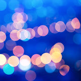Beautiful city blurring lights abstract circular bokeh blue back Stock Images