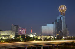 Beautiful city Dallas  at  night. Reunion tower in downtown Dallas at night , TX USA Royalty Free Stock Image