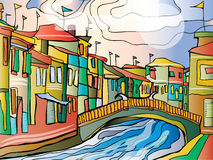 Beautiful city image. Vector illustration of beautiful city with coloured buildings and river bridge Royalty Free Stock Photography