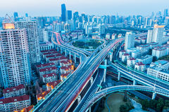 Beautiful city interchange in nightfall Stock Photos