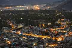 Beautiful City landscape in Night Time of Leh Ladakh District ,Norther part of India.  stock image