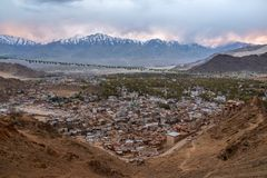 Beautiful City landscape in Night Time of Leh Ladakh District ,Norther part of India.  royalty free stock images