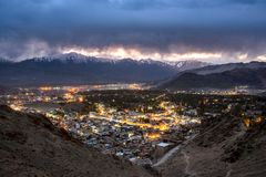 Beautiful City landscape in Night Time of Leh Ladakh District ,Norther part of India.  stock photo