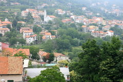 Beautiful city landscape in style of traditional Italian architecture. Amalfi Coast, Italy. Royalty Free Stock Photos