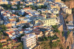 Beautiful city landscape in style of traditional Italian architecture at sunset. Amalfi Coast, Italy. Stock Photos