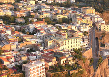 Beautiful city landscape in style of traditional Italian architecture at sunset. Amalfi Coast, Italy. Stock Images