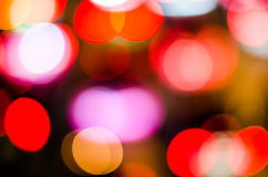 Beautiful city lights blurred bokeh background. On dark Stock Photography