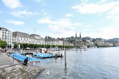 Beautiful city of Luzern in Switzerland. Beautiful view of the cityscape from the coast in Luzern city in Switzerland Royalty Free Stock Photo