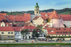 Beautiful city Maribor, Slovenia. View of the old part of town with the river bank, which is called Lent Royalty Free Stock Photo
