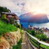 Beautiful city between mountains. Hallstatt Austria. Europe Stock Photography