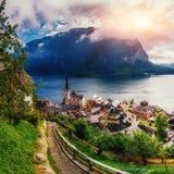 Beautiful city between mountains Hallstatt Austria Europe Stock Images