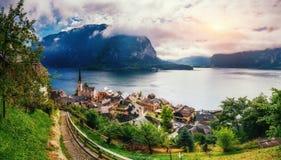 Beautiful city between mountains. Hallstatt Austria Europe Royalty Free Stock Photo