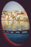 Beautiful city of Parga. Greek city of Parga, view from the boat stock photo