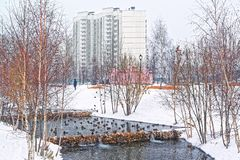 Beautiful city park on the outskirts of the city. Winter, gloomy sky and heavy snow. Ducks hibernate in an unfrozen stream royalty free stock photography