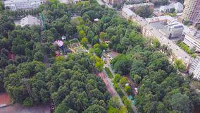 Beautiful city Park on a Sunny day. Clip. Top view of the Park with attractions.  stock images