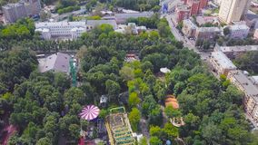 Beautiful city Park on a Sunny day. Clip. Top view of the Park with attractions.  royalty free stock photos