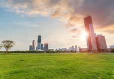 Beautiful city park in sunset Stock Image