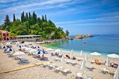 Beautiful sand beach on Ionian Sea in Parga, Greece. Royalty Free Stock Photography
