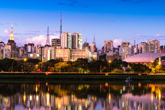 The beautiful city of Sao Paulo at night in Brazil.  royalty free stock photography