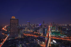 Beautiful city scape dusky with blue sky of bangkok sky scrapper Royalty Free Stock Photo