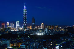 Beautiful city skyline and night lights of Taipei, Taiwan Stock Photos