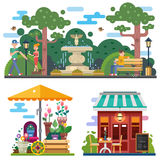 Beautiful city space in summer time. Flower shop, cafe outdoor. Walking the dog in the city park, rest on the bench. People characters. Vector flat Royalty Free Stock Photography