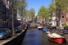 Beautiful city veiw with canals in Amsterdam, Netherlands. Stock Photography