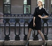 Beautiful city woman has walking on a street Royalty Free Stock Images