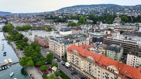 Beautiful City of Zurich in Switzerland from above