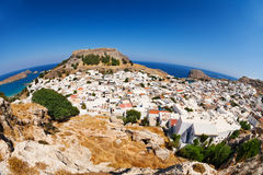 Beautiful cityscape of antique Lindos in Greece Stock Photos