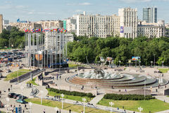 Beautiful cityscape of the area of Europe at Kiev railway station. MOSCOW - MAY 24: Beautiful sunny cityscape of the area of Europe at the Kiev railway station Royalty Free Stock Images