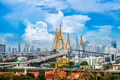 Beautiful Cityscape of Bangkok and highway bridge in Thailand Royalty Free Stock Images
