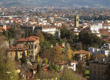 Beautiful cityscape of Bergamo lower town in an autumn sunny day, Bergamo Royalty Free Stock Images