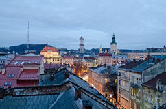 Beautiful cityscape of the center of Lvov Royalty Free Stock Photos