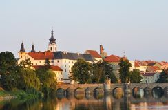 The beautiful cityscape of city Pisek in the Czech Republic. With its legendary old bridge Stock Image