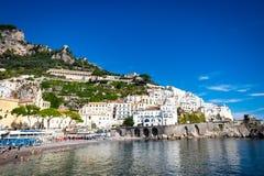 Beautiful cityscape and famous stunning resort of Amalfi,Campania region,Italy stock images