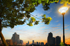 Beautiful cityscape of heart of bangkok thailand scene through g Royalty Free Stock Photo