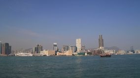 Panorama of Hong Kong Victoria Harbour cityscape stock video footage