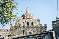 Beautiful cityscape of Italy, facade of old cathedral in Catania, Sicily, Italy, ancient baroque church.  stock photo